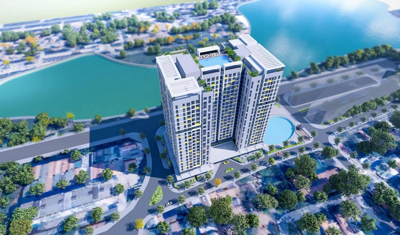 Phối cảnh toà nhà CT1 – Nhà ở xã hội Thượng Thanh Long Biên